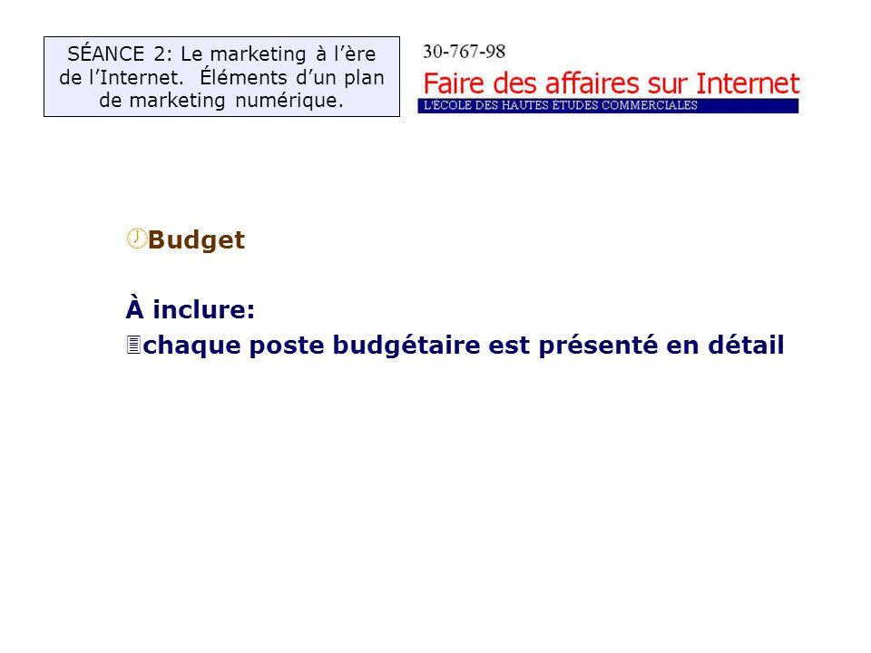 ½ Budget À inclure: 3chaque poste budgétaire est présenté en détail SÉANCE 2: Le marketing à lère de lInternet.