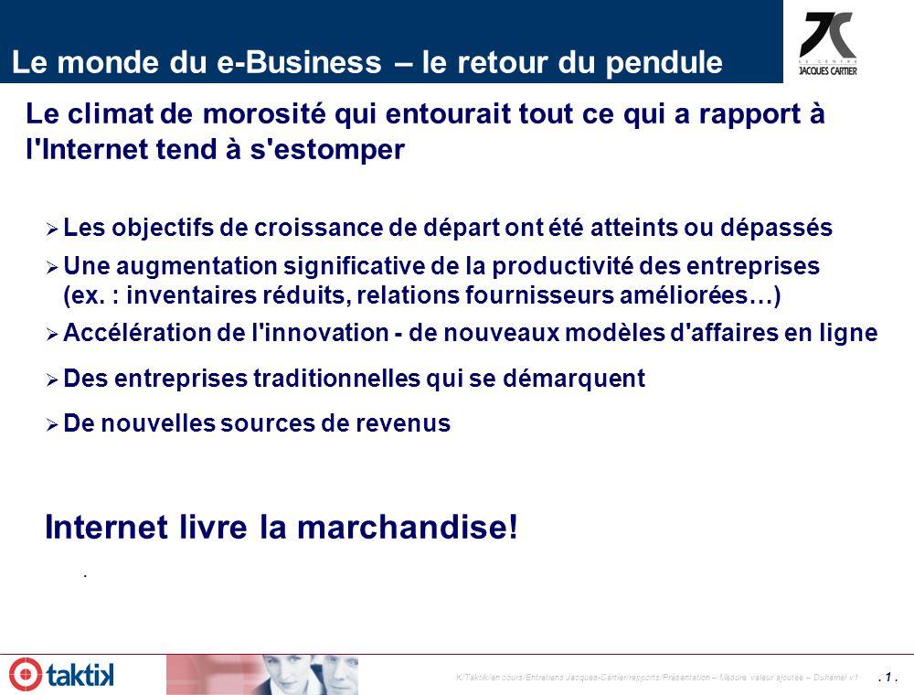Membre de Mesures de la valeur ajoutée des AÉ Entretiens du Centre Jacques Cartier 2004 Création de valeur client et création de valeur entreprise 7 o