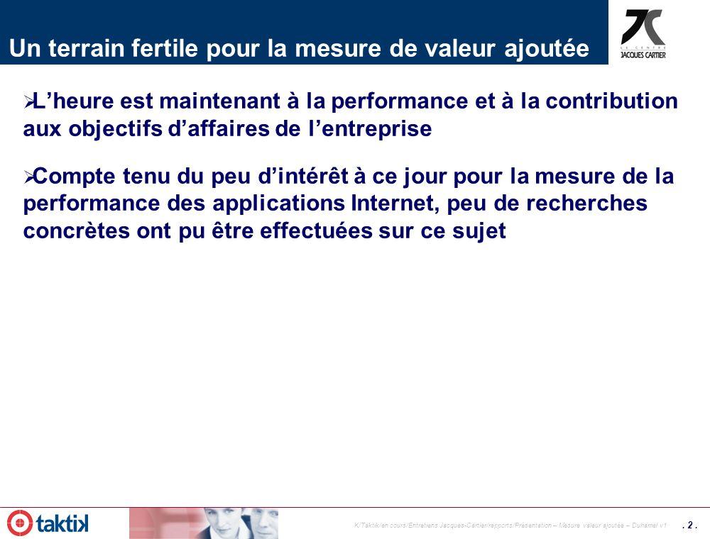 . 1. K/Taktik/en cours/Entretiens Jacques-Cartier/rapports/Présentation – Mesure valeur ajoutée – Duhamel v1 Le monde du e-Business – le retour du pen