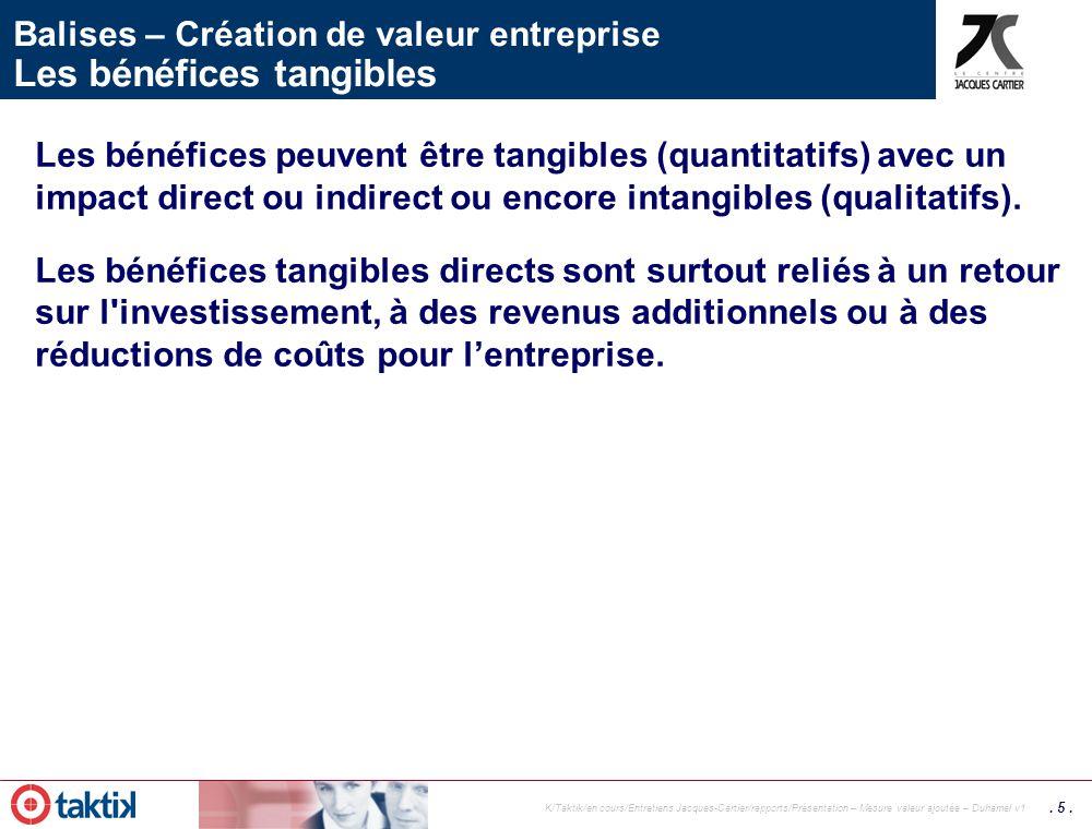 . 4. K/Taktik/en cours/Entretiens Jacques-Cartier/rapports/Présentation – Mesure valeur ajoutée – Duhamel v1 Création de valeur entreprise