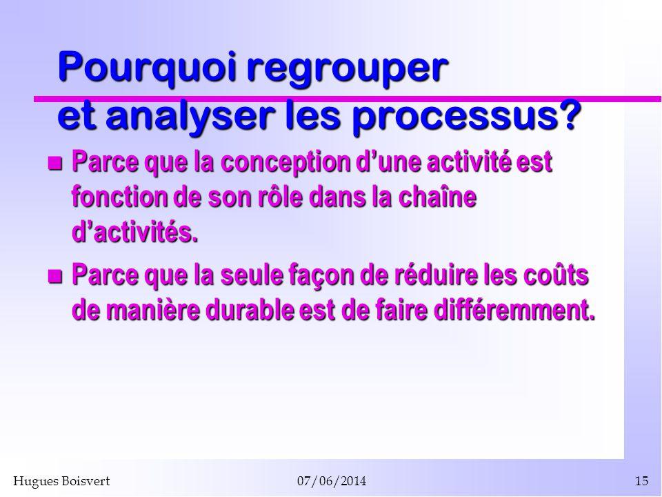 Hugues Boisvert07/06/201415 Pourquoi regrouper et analyser les processus? Parce que la conception dune activité est fonction de son rôle dans la chaîn