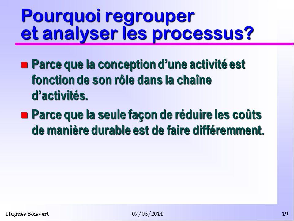 Hugues Boisvert07/06/201419 Pourquoi regrouper et analyser les processus? Parce que la conception dune activité est fonction de son rôle dans la chaîn