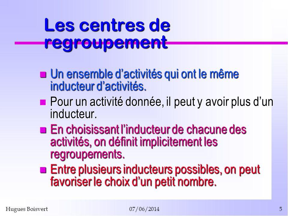 Hugues Boisvert07/06/20145 Les centres de regroupement Un ensemble dactivités qui ont le même inducteur dactivités. Un ensemble dactivités qui ont le