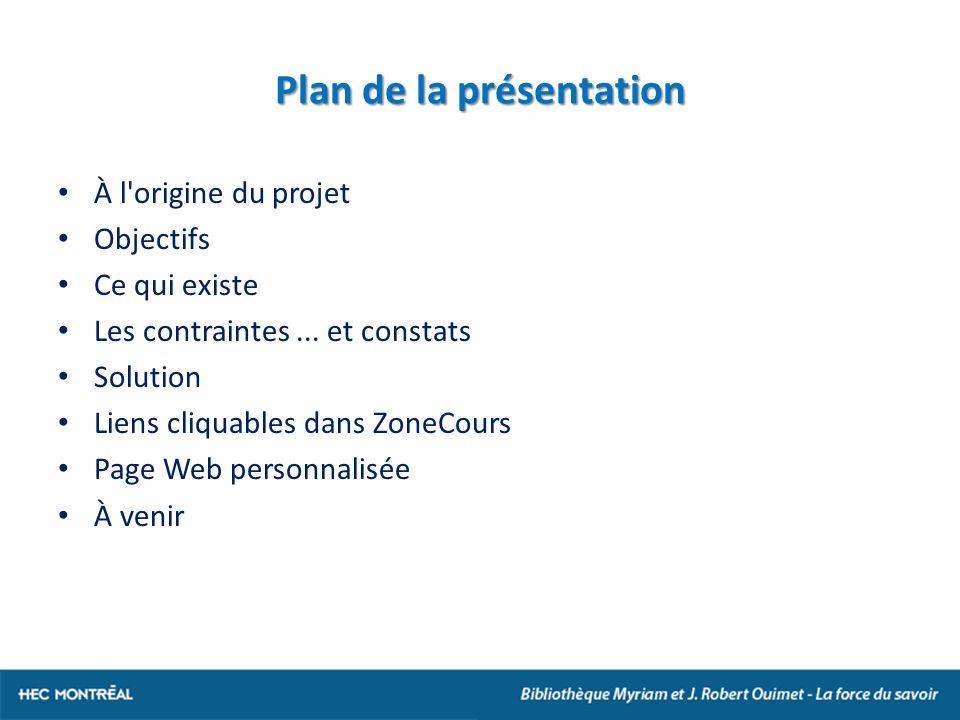 Plan de la présentation À l origine du projet Objectifs Ce qui existe Les contraintes...