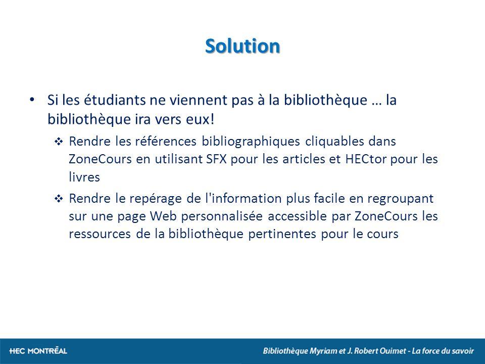 Solution Si les étudiants ne viennent pas à la bibliothèque … la bibliothèque ira vers eux.