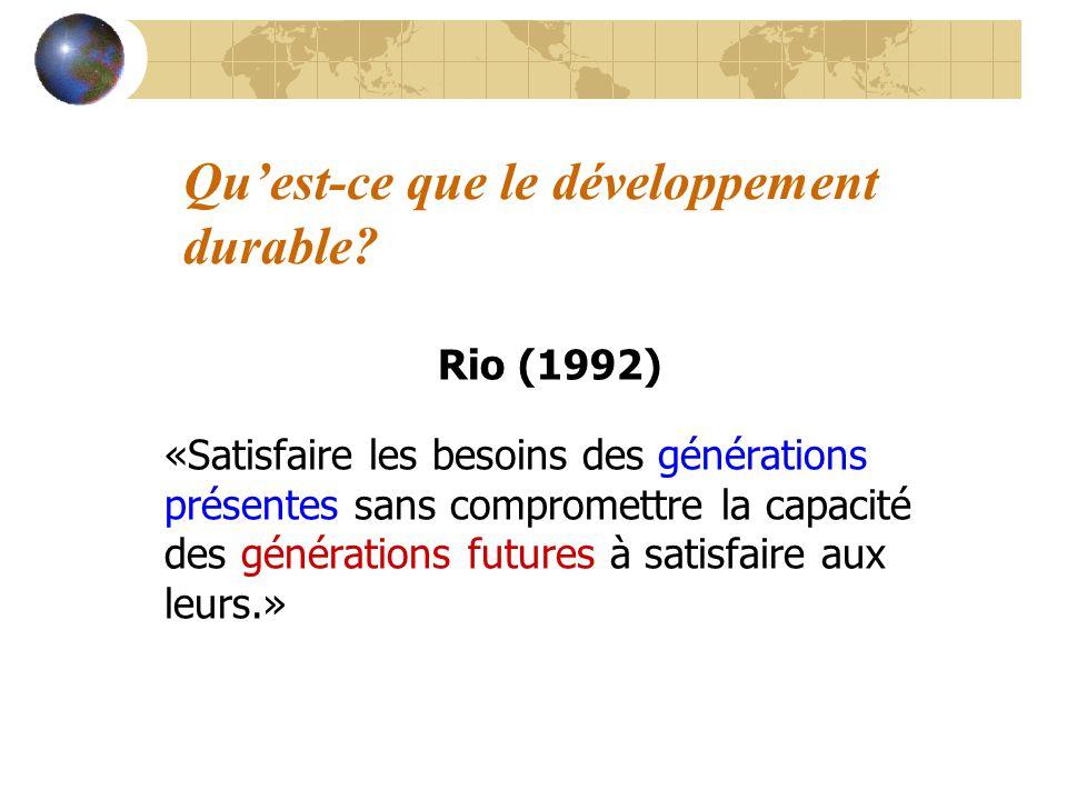 Quest-ce que le développement durable? Rio (1992) «Satisfaire les besoins des générations présentes sans compromettre la capacité des générations futu