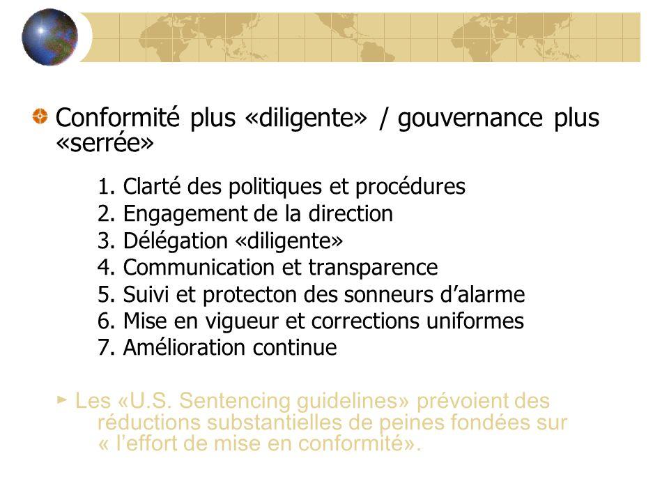 Conformité plus «diligente» / gouvernance plus «serrée» 1. Clarté des politiques et procédures 2. Engagement de la direction 3. Délégation «diligente»