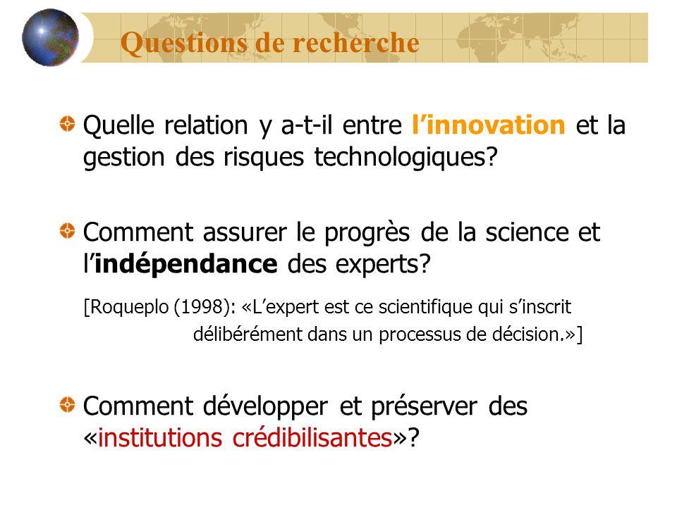 Questions de recherche Quelle relation y a-t-il entre linnovation et la gestion des risques technologiques? Comment assurer le progrès de la science e