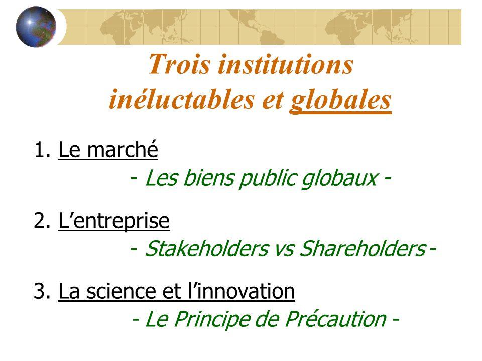 Trois institutions inéluctables et globales 1. Le marché - Les biens public globaux - 2. Lentreprise - Stakeholders vs Shareholders - 3. La science et