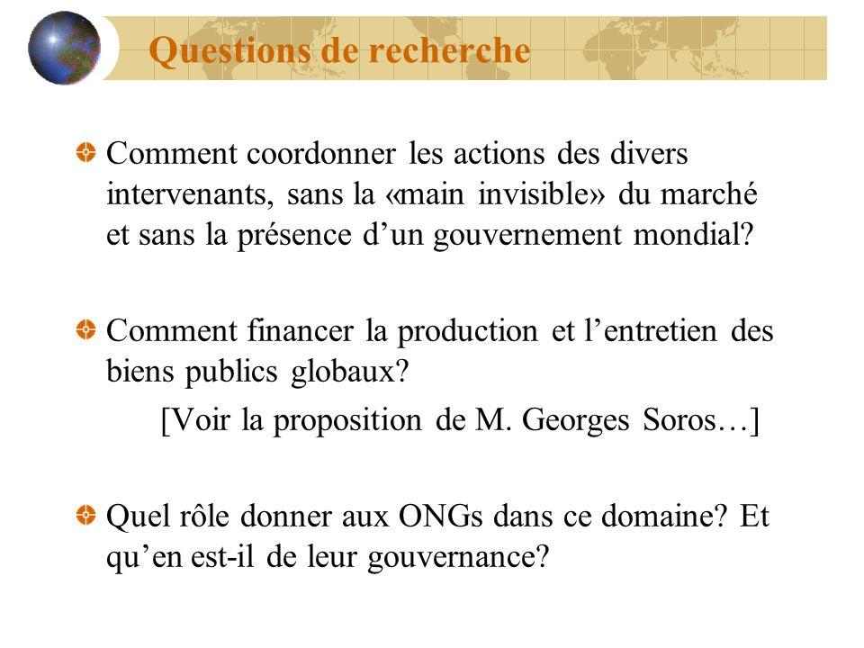 Questions de recherche Comment coordonner les actions des divers intervenants, sans la «main invisible» du marché et sans la présence dun gouvernement