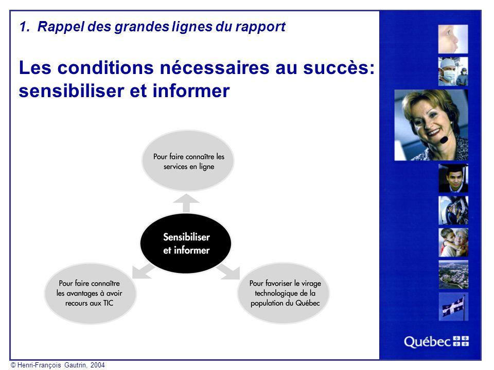 Les conditions nécessaires au succès: sensibiliser et informer 1.Rappel des grandes lignes du rapport © Henri-François Gautrin, 2004