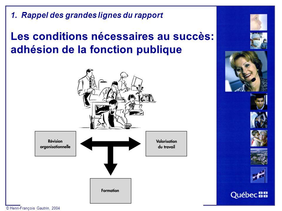 1.Rappel des grandes lignes du rapport Les conditions nécessaires au succès: adhésion de la fonction publique © Henri-François Gautrin, 2004