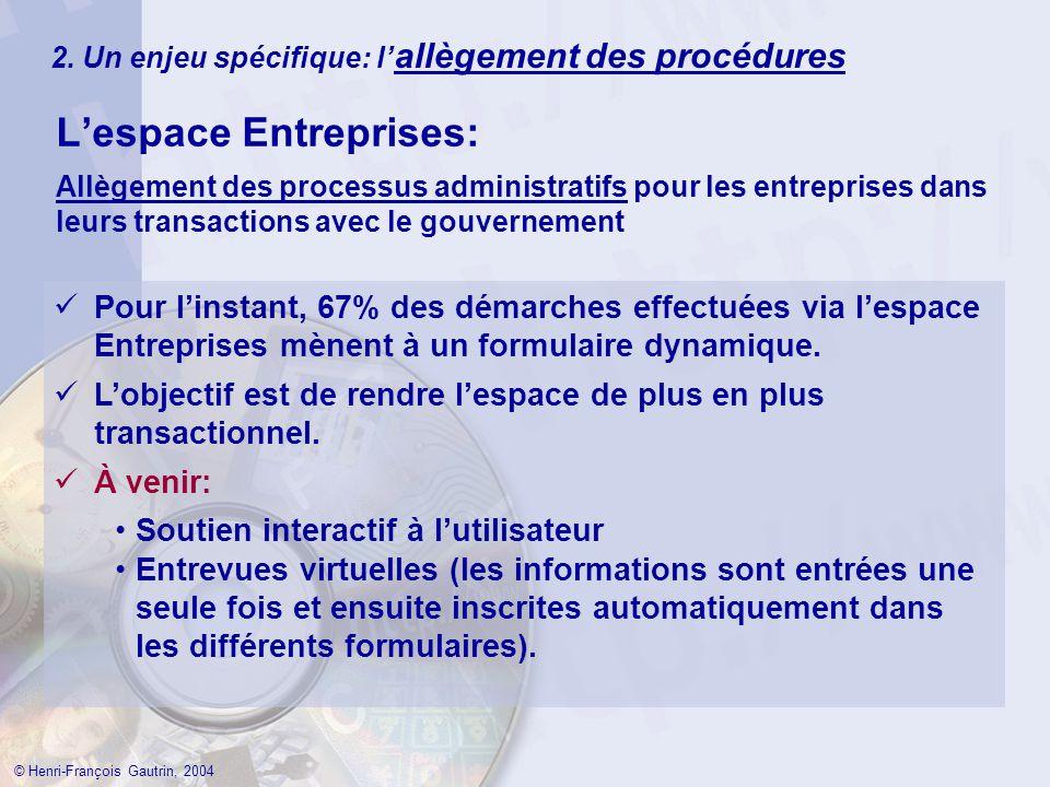 2. Un enjeu spécifique: l allègement des procédures Lespace Entreprises: © Henri-François Gautrin, 2004 Allègement des processus administratifs pour l