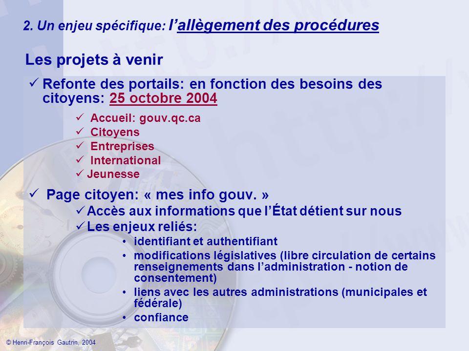 2. Un enjeu spécifique: lallègement des procédures Les projets à venir © Henri-François Gautrin, 2004 Refonte des portails: en fonction des besoins de