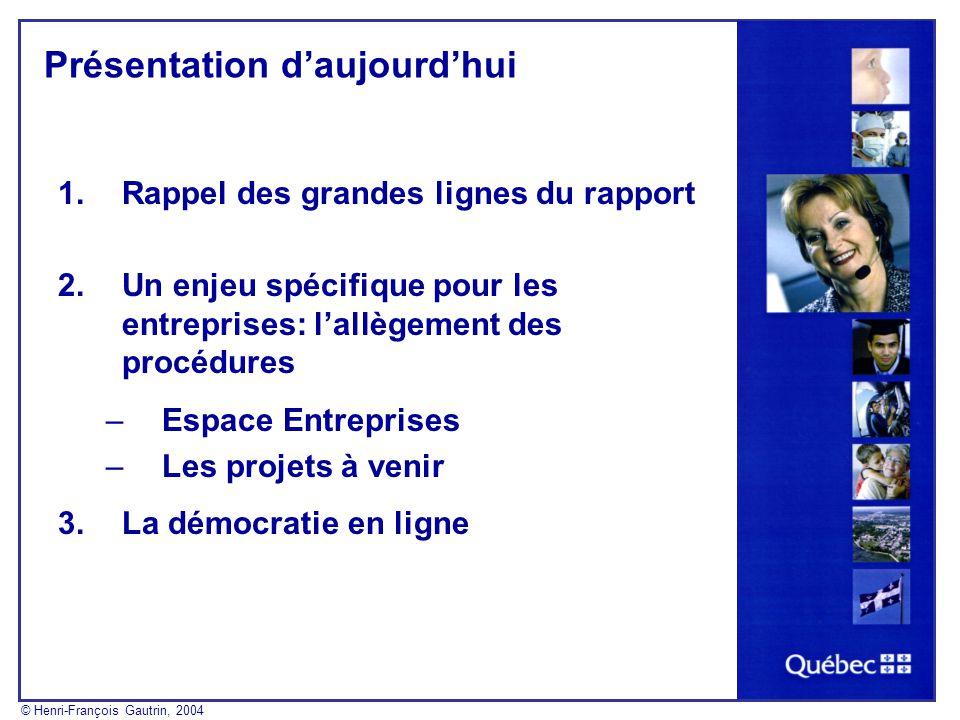 Présentation daujourdhui 1.Rappel des grandes lignes du rapport 2.Un enjeu spécifique pour les entreprises: lallègement des procédures –Espace Entrepr