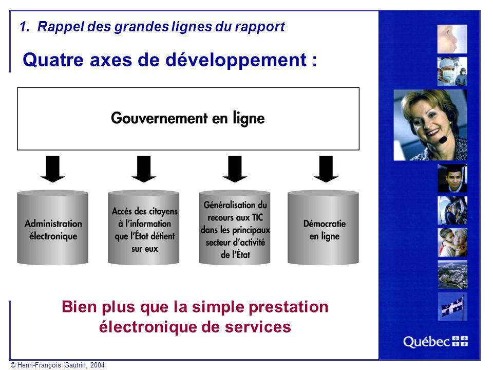 Quatre axes de développement : Bien plus que la simple prestation électronique de services 1.Rappel des grandes lignes du rapport © Henri-François Gautrin, 2004