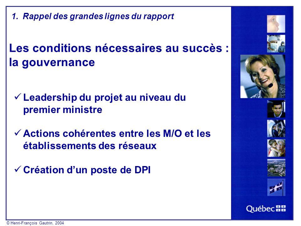 Les conditions nécessaires au succès : la gouvernance Leadership du projet au niveau du premier ministre Actions cohérentes entre les M/O et les établ