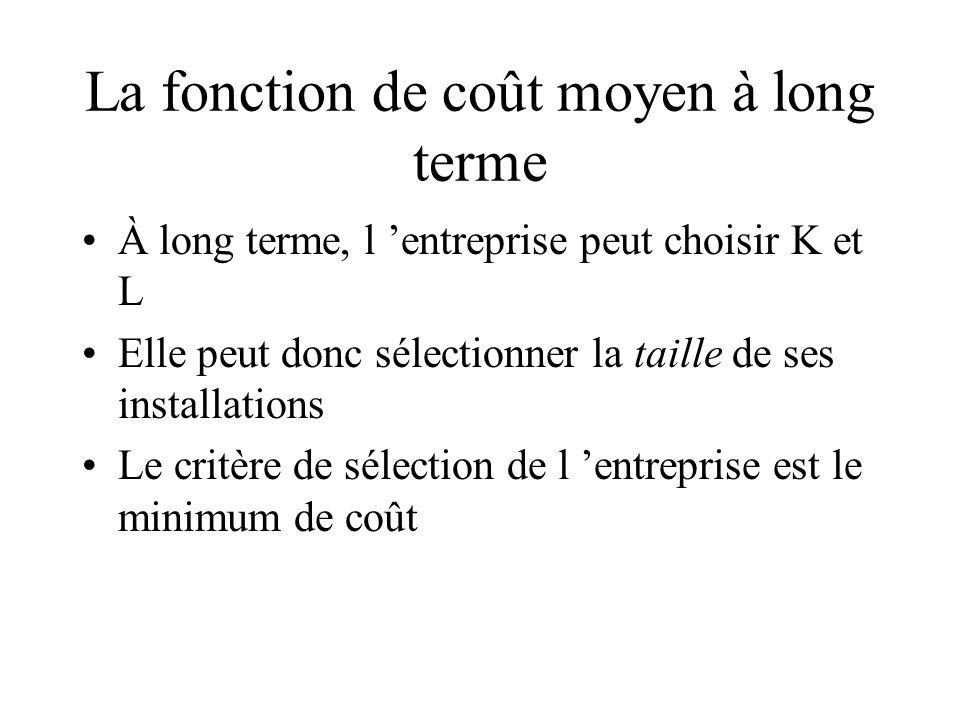 La fonction de coût moyen à long terme À long terme, l entreprise peut choisir K et L Elle peut donc sélectionner la taille de ses installations Le critère de sélection de l entreprise est le minimum de coût