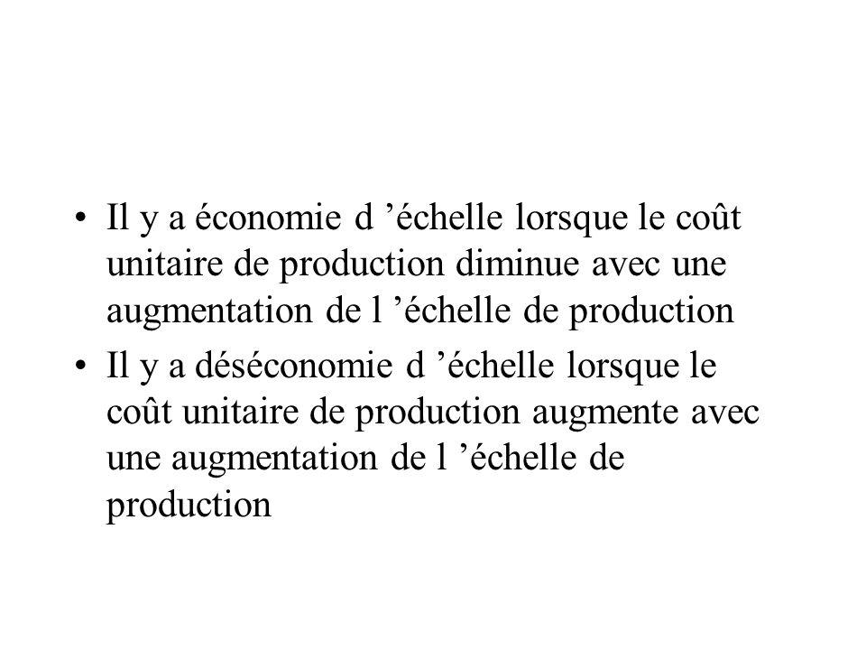 Il y a économie d échelle lorsque le coût unitaire de production diminue avec une augmentation de l échelle de production Il y a déséconomie d échelle lorsque le coût unitaire de production augmente avec une augmentation de l échelle de production