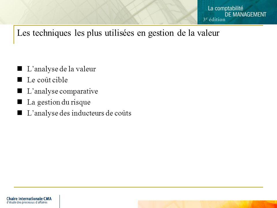 5 Lanalyse de la valeur Lanalyse de la valeur dun produit vise à déterminer le coût et la valeur de chacun des éléments qui le composent en lexaminant de façon détaillée.