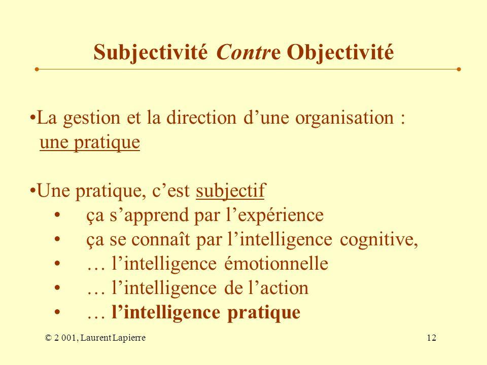 © 2 001, Laurent Lapierre12 La gestion et la direction dune organisation : une pratique Une pratique, cest subjectif ça sapprend par lexpérience ça se