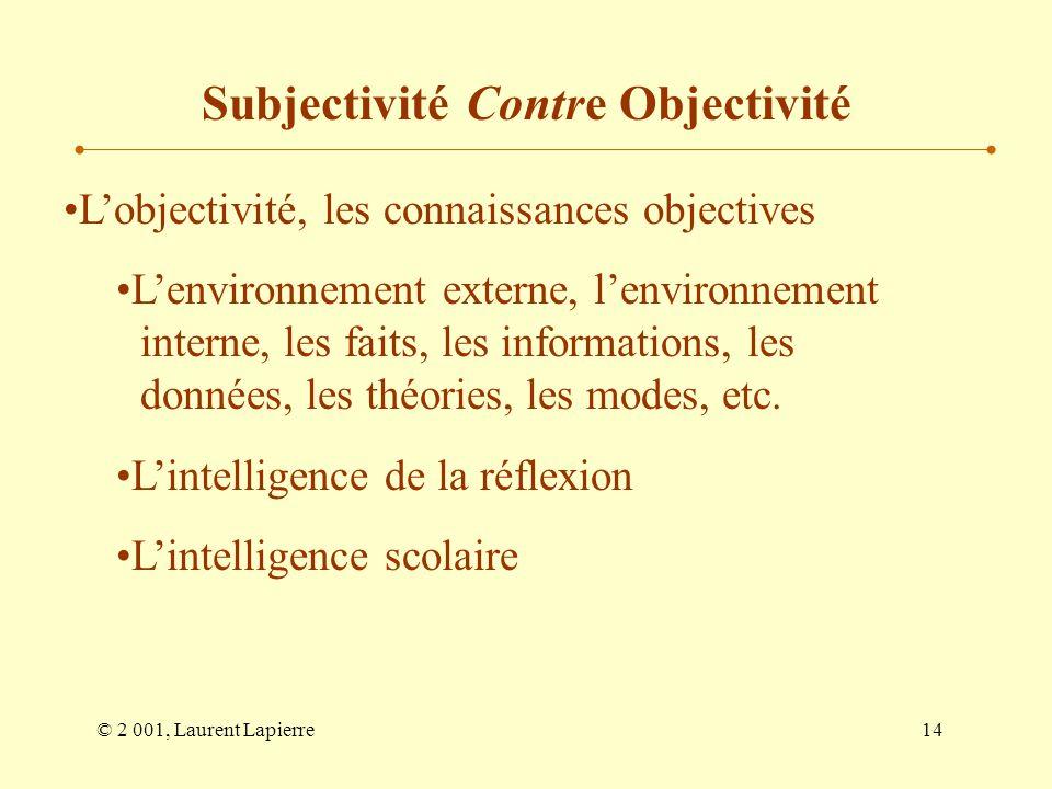 © 2 001, Laurent Lapierre14 Lobjectivité, les connaissances objectives Lenvironnement externe, lenvironnement interne, les faits, les informations, le