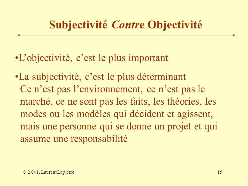 © 2 001, Laurent Lapierre15 Lobjectivité, cest le plus important La subjectivité, cest le plus déterminant Ce nest pas lenvironnement, ce nest pas le