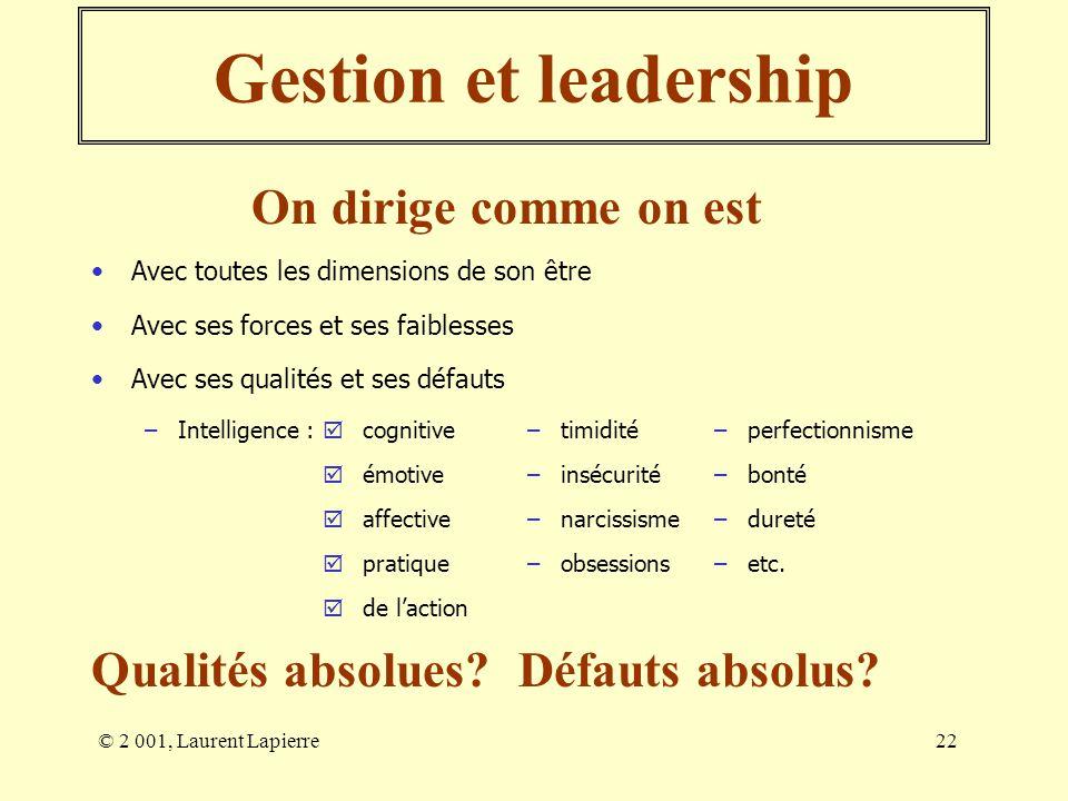 © 2 001, Laurent Lapierre22 Gestion et leadership Avec toutes les dimensions de son être On dirige comme on est Avec ses forces et ses faiblesses Avec