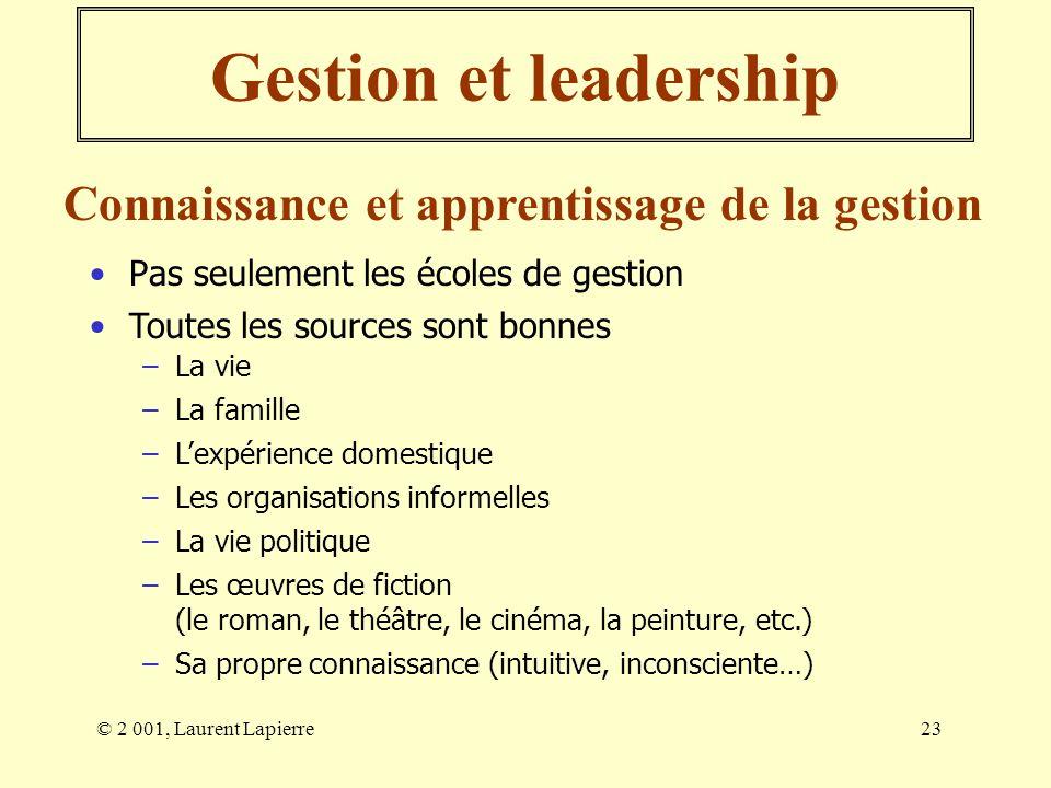 © 2 001, Laurent Lapierre23 Gestion et leadership Pas seulement les écoles de gestion Connaissance et apprentissage de la gestion Toutes les sources s