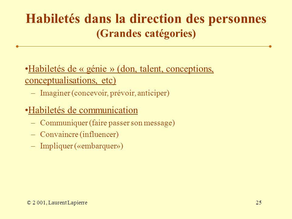 © 2 001, Laurent Lapierre25 Habiletés dans la direction des personnes (Grandes catégories) Habiletés de « génie » (don, talent, conceptions, conceptua