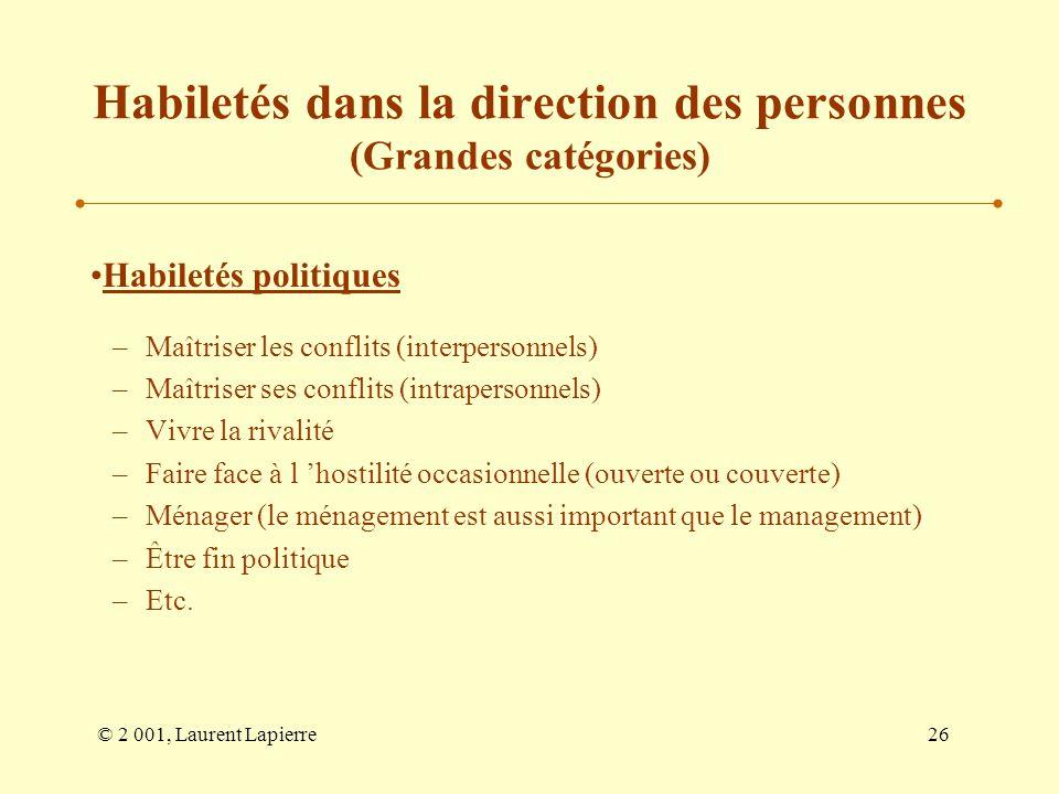 © 2 001, Laurent Lapierre26 Habiletés dans la direction des personnes (Grandes catégories) Habiletés politiques –Maîtriser les conflits (interpersonne