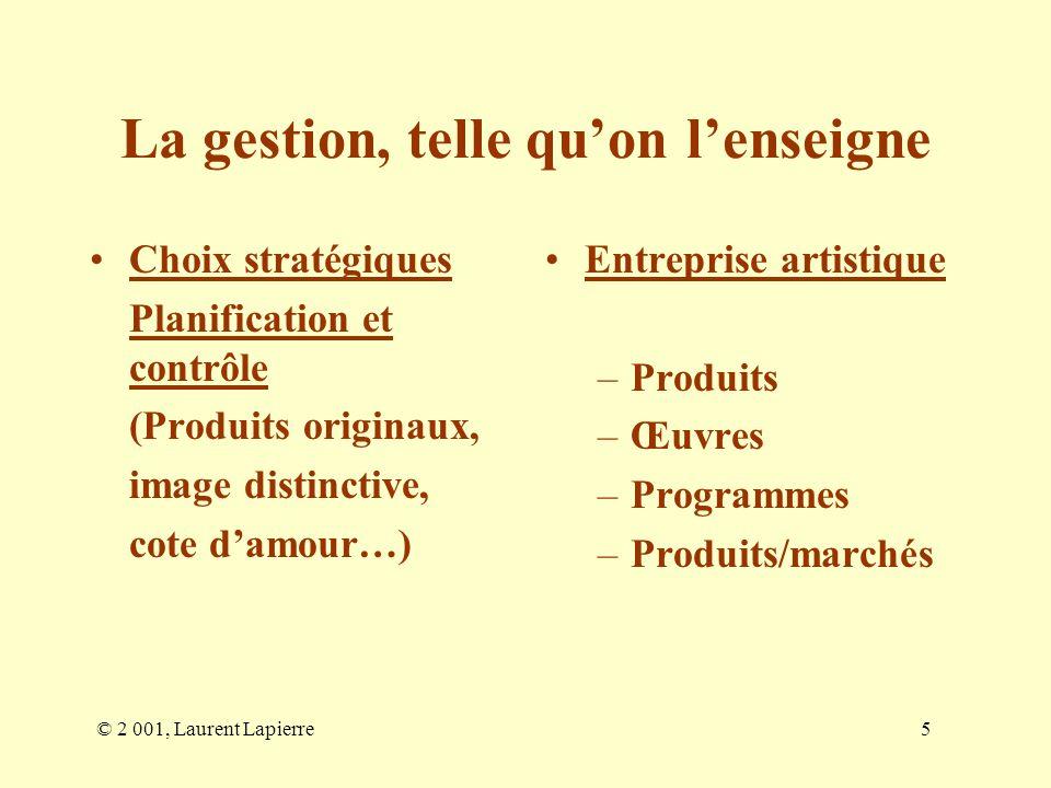 © 2 001, Laurent Lapierre5 La gestion, telle quon lenseigne Choix stratégiques Planification et contrôle (Produits originaux, image distinctive, cote