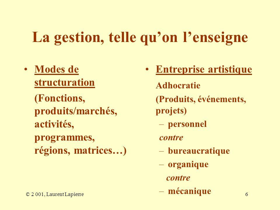© 2 001, Laurent Lapierre6 La gestion, telle quon lenseigne Modes de structuration (Fonctions, produits/marchés, activités, programmes, régions, matri