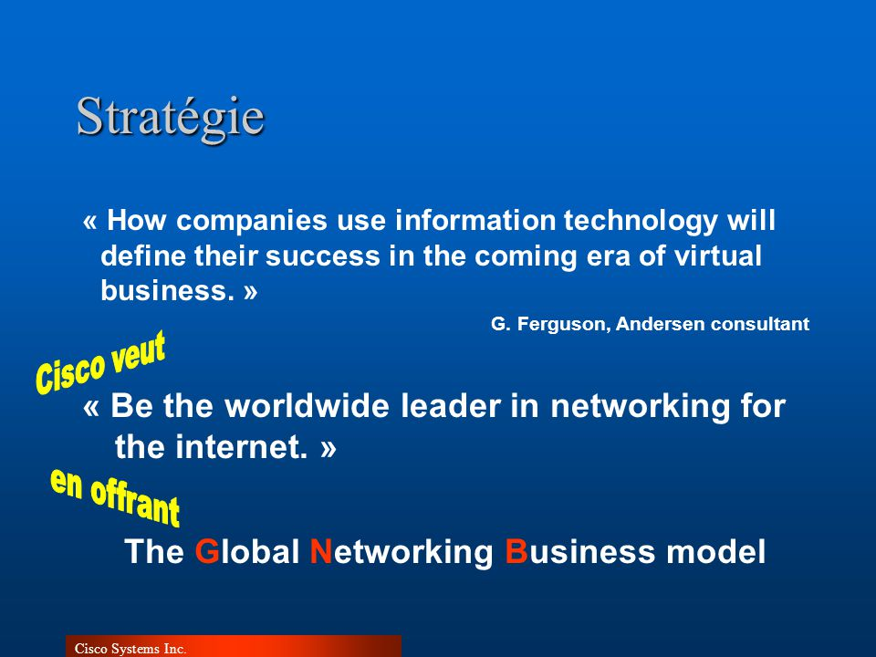 Cisco Systems Inc.Stratégie « Be the worldwide leader in networking for the internet. » « How companies use information technology will define their s