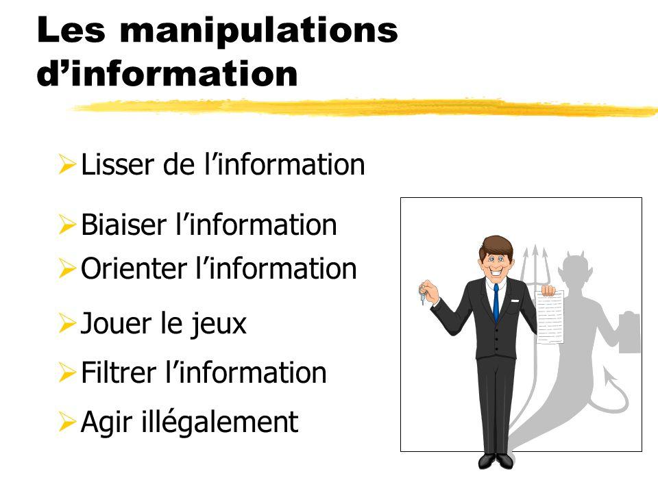 Les manipulations dinformation Lisser de linformation Biaiser linformation Orienter linformation Jouer le jeux Filtrer linformation Agir illégalement