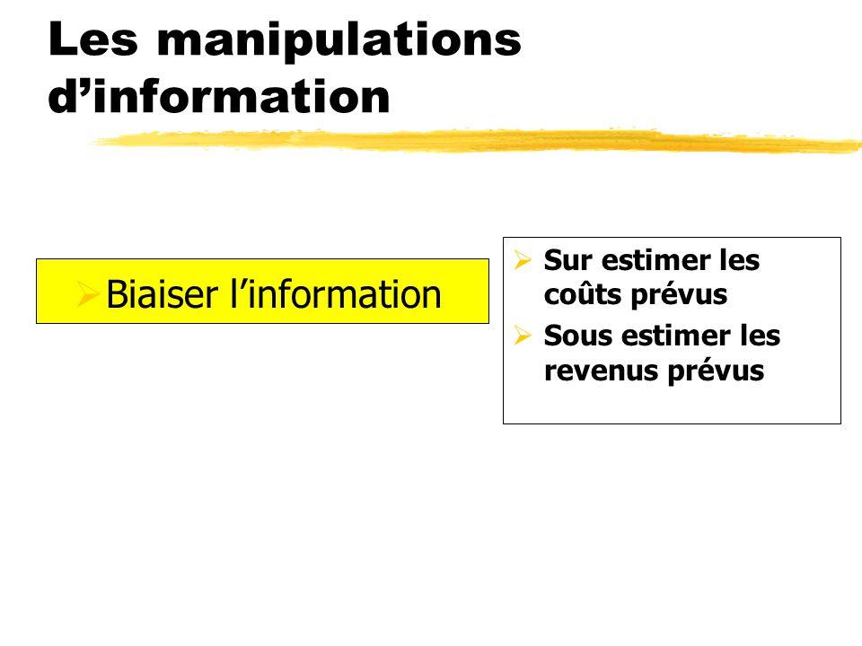 Sur estimer les coûts prévus Sous estimer les revenus prévus Les manipulations dinformation Biaiser linformation