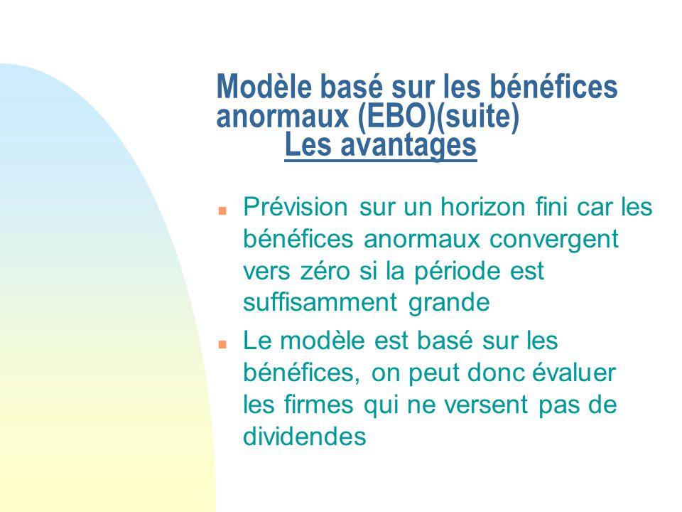 Modèle basé sur les bénéfices anormaux (EBO)(suite) Les avantages n Prévision sur un horizon fini car les bénéfices anormaux convergent vers zéro si l