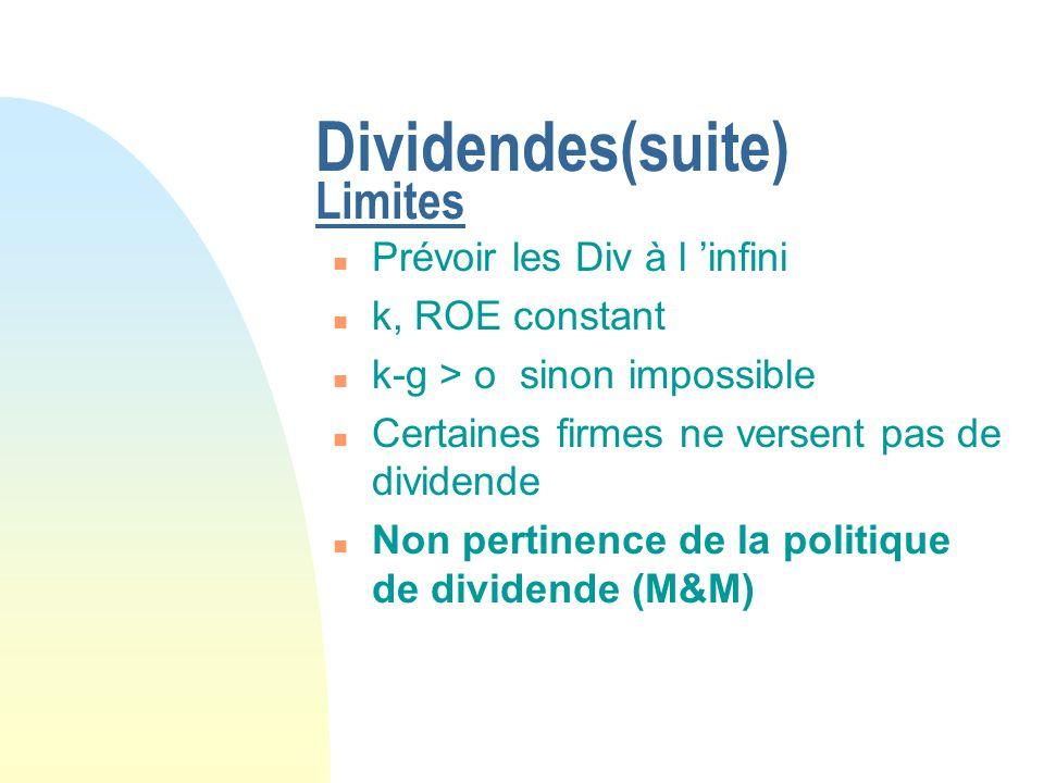 Dividendes(suite) Limites n Prévoir les Div à l infini n k, ROE constant n k-g > o sinon impossible n Certaines firmes ne versent pas de dividende n N