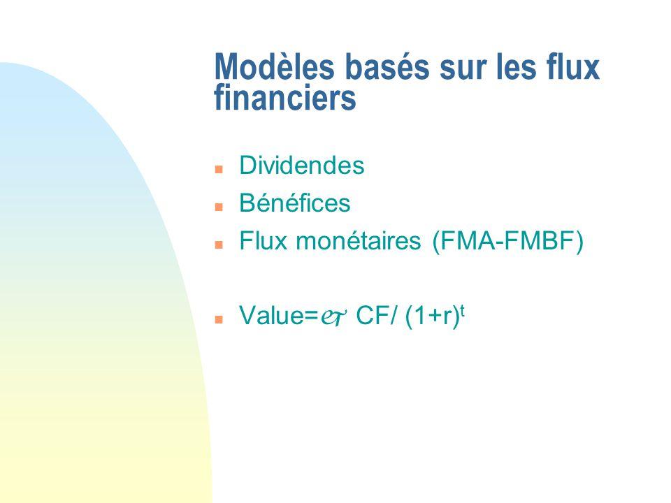 n Dividendes n Bénéfices n Flux monétaires (FMA-FMBF) n Value= CF/ (1+r) t Modèles basés sur les flux financiers