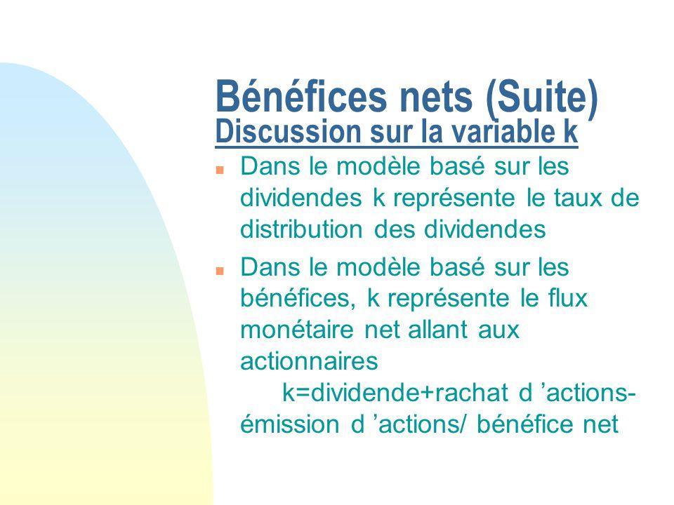 Bénéfices nets (Suite) Avantages p/r modèle de dividende n La valeur de la firme dépend de sa capacité bénéficiaire, dont le dividende n est qu une manifestation n On peut calculer la valeur des fonds propres ou la valeur total de la firme (fonds propres et dette)