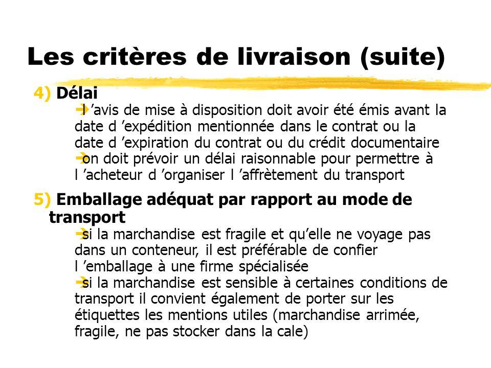 Les critères de livraison (suite) 4) Délai l avis de mise à disposition doit avoir été émis avant la date d expédition mentionnée dans le contrat ou l