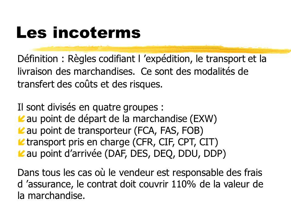 Les incoterms Définition : Règles codifiant l expédition, le transport et la livraison des marchandises. Ce sont des modalités de transfert des coûts