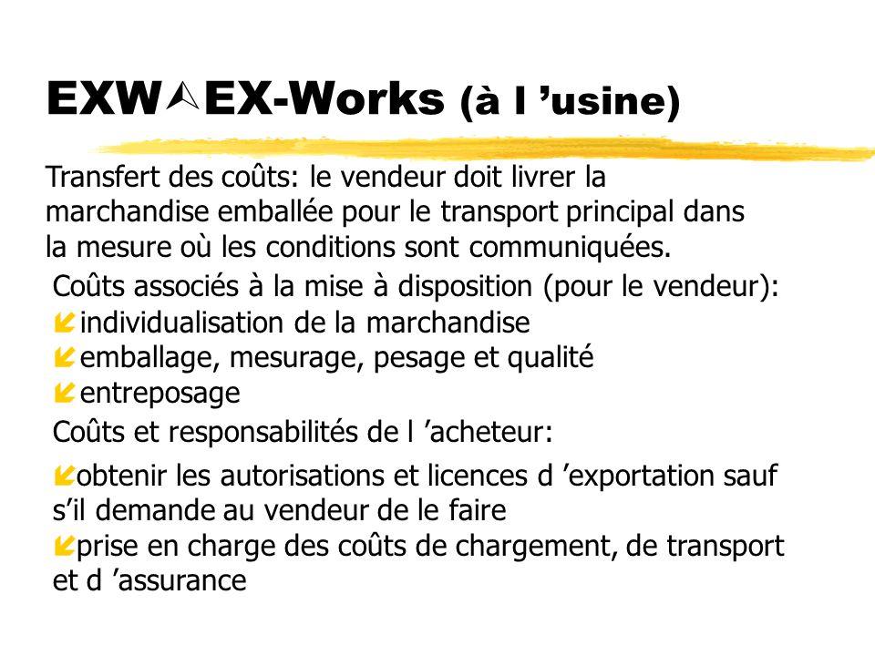 EXW EX-Works (à l usine) Coûts associés à la mise à disposition (pour le vendeur): íindividualisation de la marchandise íemballage, mesurage, pesage e