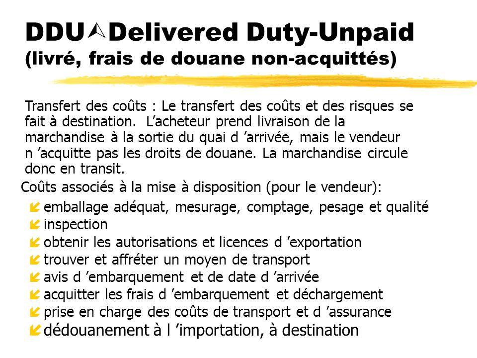 DDU Delivered Duty-Unpaid (livré, frais de douane non-acquittés) Coûts associés à la mise à disposition (pour le vendeur): íemballage adéquat, mesurag