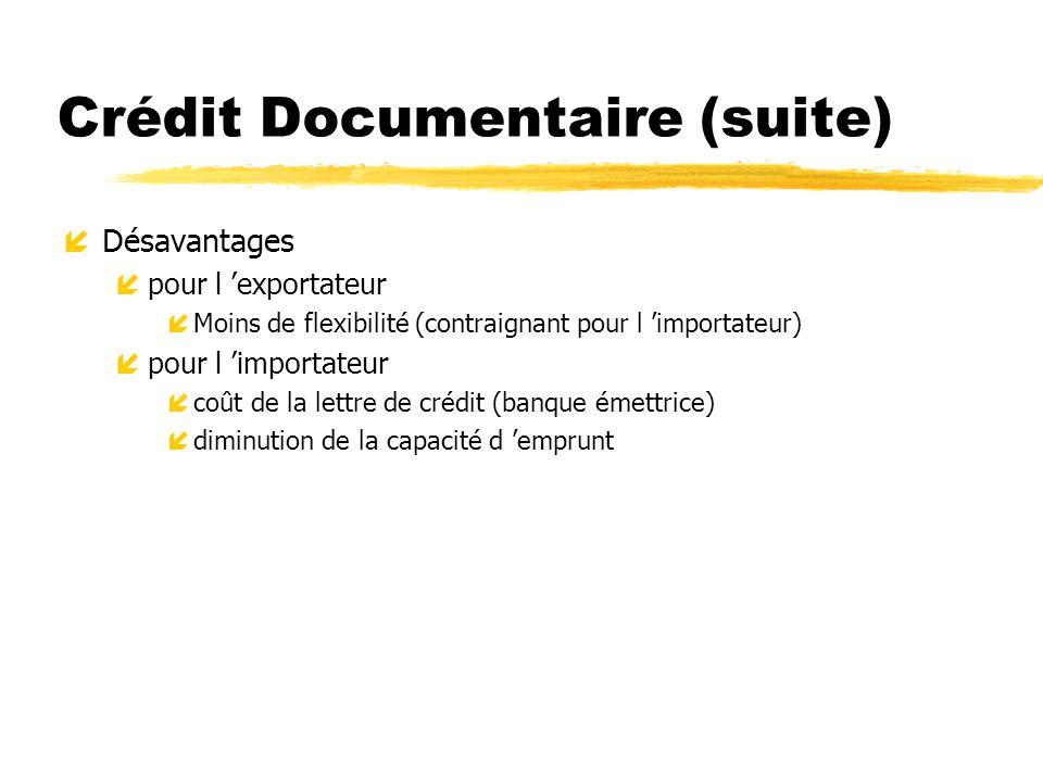 Crédit Documentaire (suite) íDésavantages ípour l exportateur íMoins de flexibilité (contraignant pour l importateur) ípour l importateur ícoût de la
