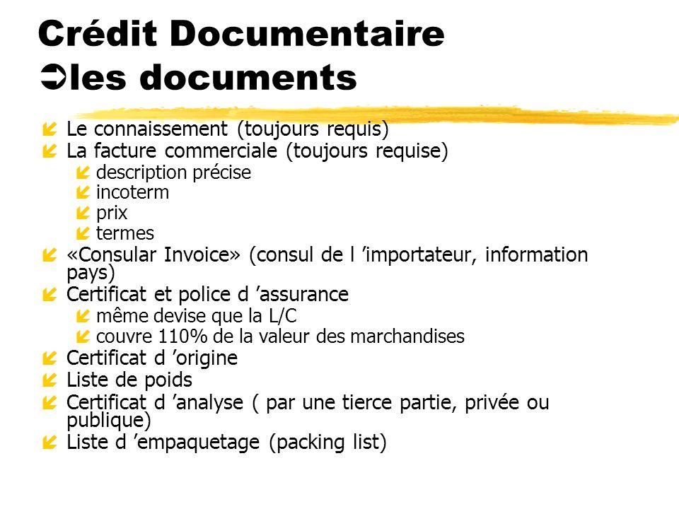 Crédit Documentaire les documents íLe connaissement (toujours requis) íLa facture commerciale (toujours requise) ídescription précise íincoterm íprix