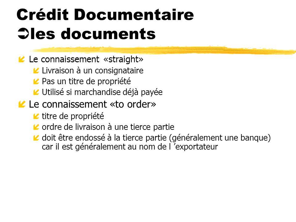 Crédit Documentaire les documents íLe connaissement «straight» íLivraison à un consignataire íPas un titre de propriété íUtilisé si marchandise déjà p