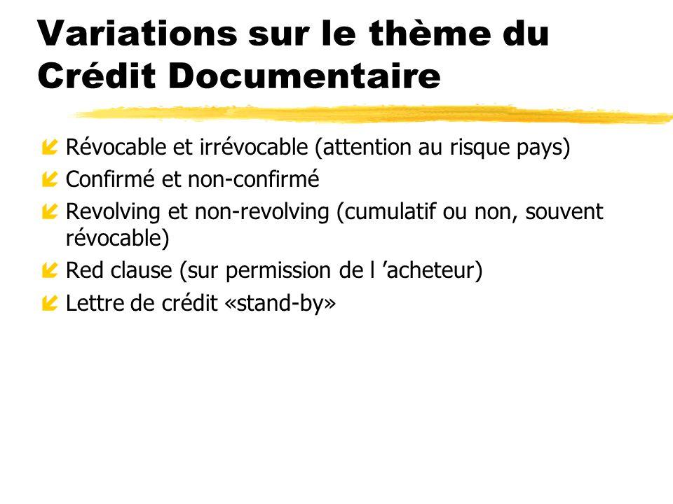 Variations sur le thème du Crédit Documentaire íRévocable et irrévocable (attention au risque pays) íConfirmé et non-confirmé íRevolving et non-revolv