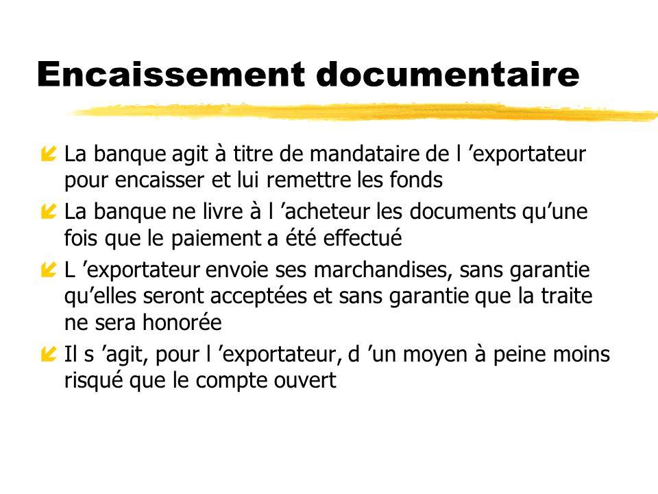 Encaissement documentaire íLa banque agit à titre de mandataire de l exportateur pour encaisser et lui remettre les fonds íLa banque ne livre à l ache