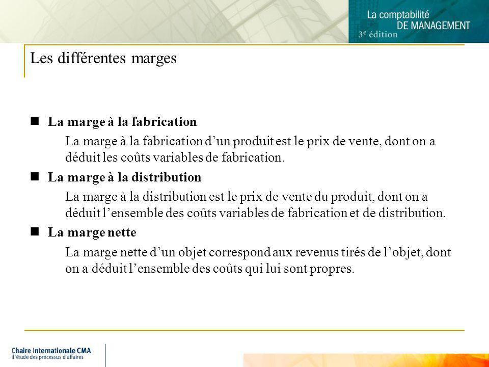 5 Les différentes marges La marge à la fabrication La marge à la fabrication dun produit est le prix de vente, dont on a déduit les coûts variables de